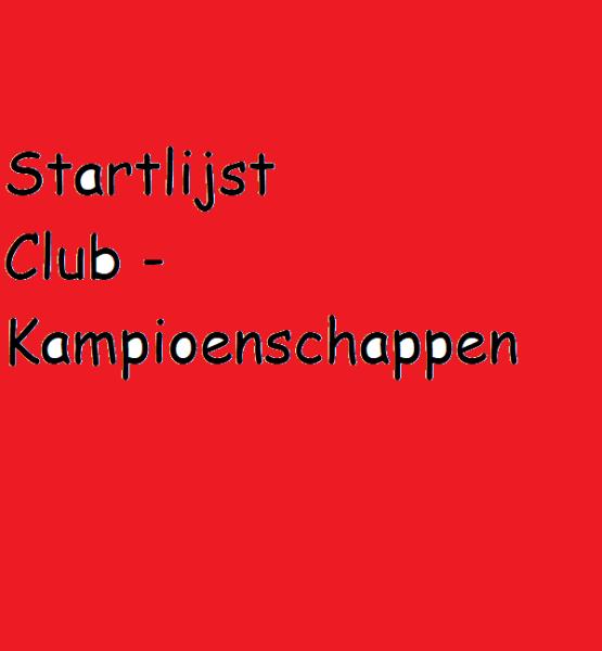 Voorlopige startlijst